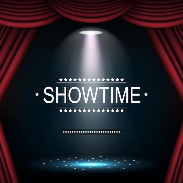 Showtime fond avec rideau éclairé par des projecteurs Vecteur Premium