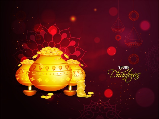 Shubh (happy) dhanteras carte de voeux de célébration avec des pots de pièces d'or et des lampes à huile illuminées (diya) sur fond d'effet d'éclairage de mandala brun. Vecteur Premium