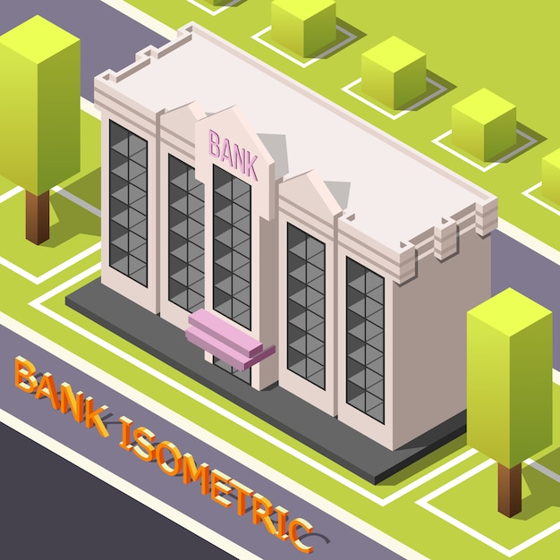 Siège de la banque isométrique Vecteur gratuit
