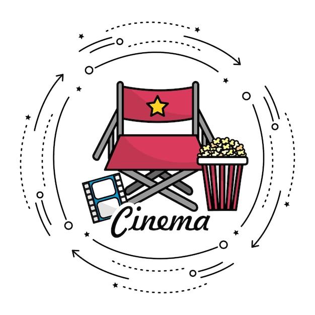 Siège du directeur avec des choses cinématographiques Vecteur Premium