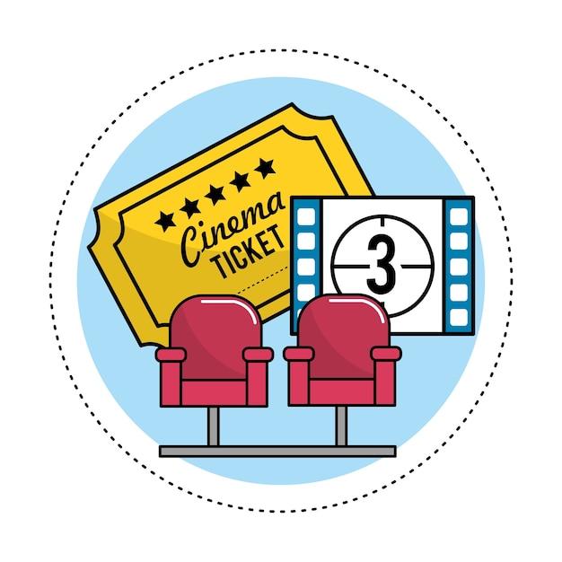 Sièges de cinéma avec billets et compte à rebours Vecteur Premium
