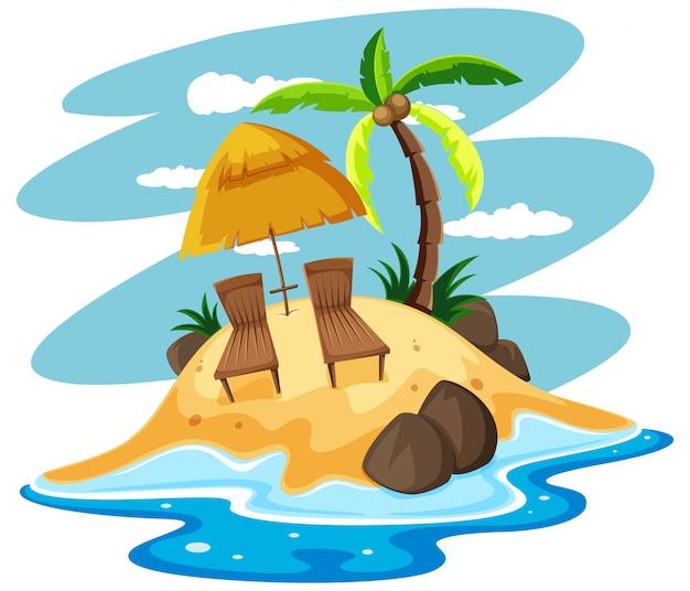 Sièges sur une île privée Vecteur gratuit