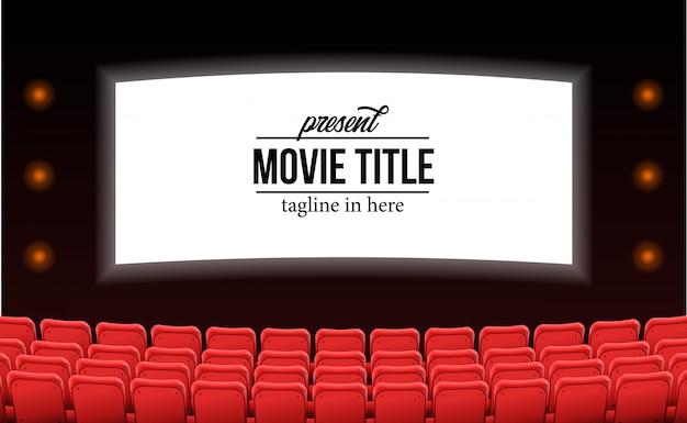 Sièges rouges vides au film de théâtre annoncent le concept de modèle de film Vecteur Premium