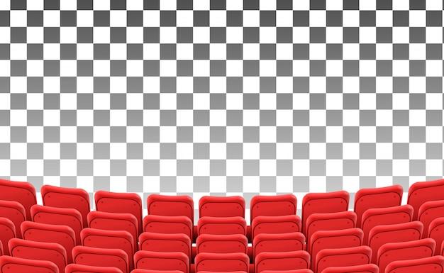 Sièges rouges vides au film de théâtre avant isolé Vecteur Premium