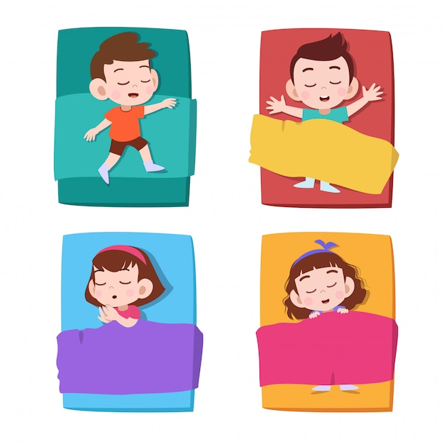 Sieste enfants dormir Vecteur Premium