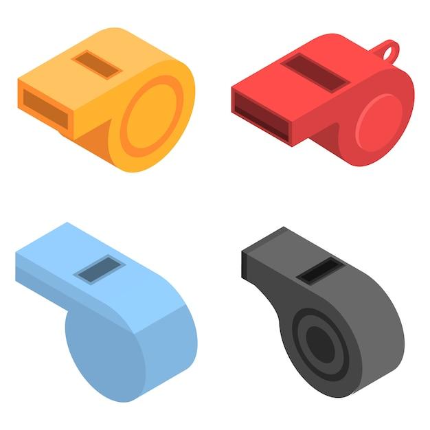 Sifflet icon set. isométrique ensemble d'icônes vectorielles sifflet pour la conception web isolée sur fond blanc Vecteur Premium