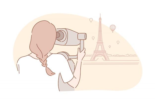 Sightseeng, Voyage, Concept De Tourisme Vecteur Premium