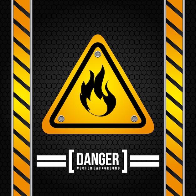Signal d'avertissement sur noir Vecteur gratuit
