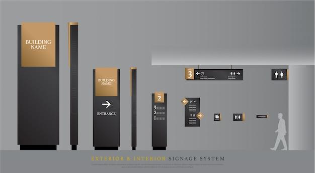 Signalisation extérieure et intérieure Vecteur Premium