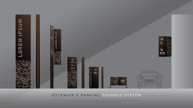 Signalisation extérieure et de stationnement. direction, poteau, bâti de mur et identité de corporation de trafic Vecteur Premium