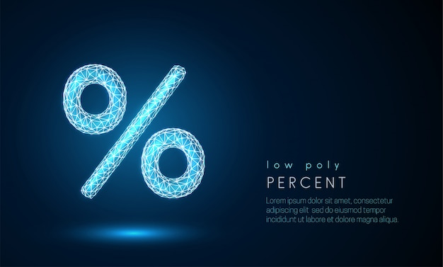 Signe abstrait pour cent. design de style low poly. Vecteur Premium