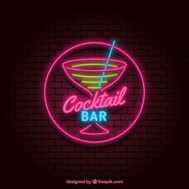 Signe au néon cocktail coloré Vecteur gratuit