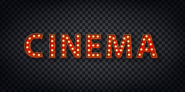 Signe De Chapiteau Réaliste Du Logo De Cinéma Pour La Décoration De Modèle Et La Couverture Sur Le Fond Transparent. Concept De Spectacle Et Réalisateur. Vecteur Premium