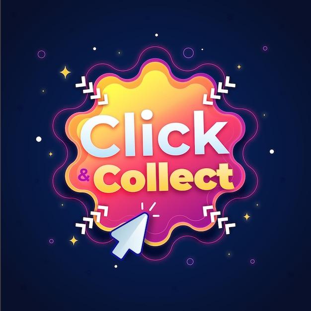 Signe Click & Collect Détaillé Vecteur gratuit