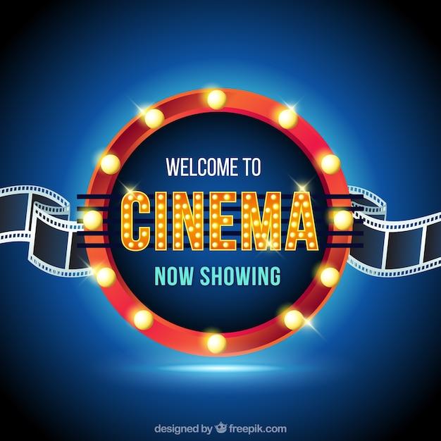 Signe du film lumineux circulaire Vecteur gratuit