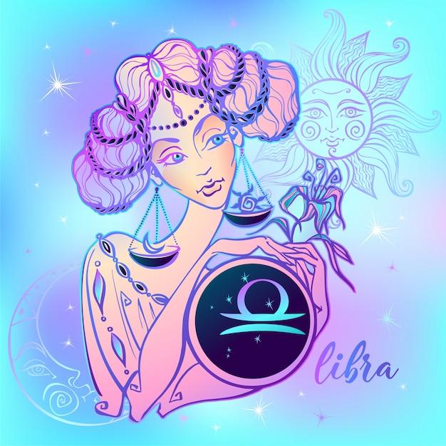 Signe du zodiaque balance une belle fille. Vecteur Premium