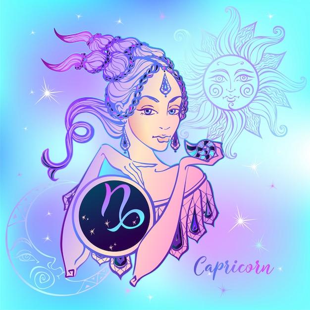 Signe du zodiaque belle fille de capricorne Vecteur Premium