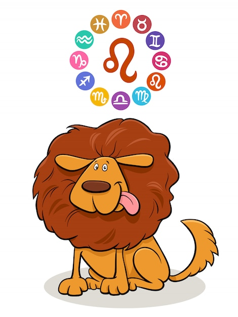 Signe Du Zodiaque Leo Avec Chien De Dessin Animé