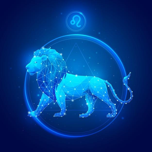 Signe Du Zodiaque Lion En Cercle Vecteur Premium