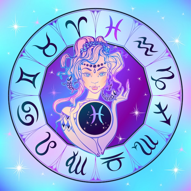Signe du zodiaque poissons une belle fille. horoscope. astrologie. Vecteur Premium