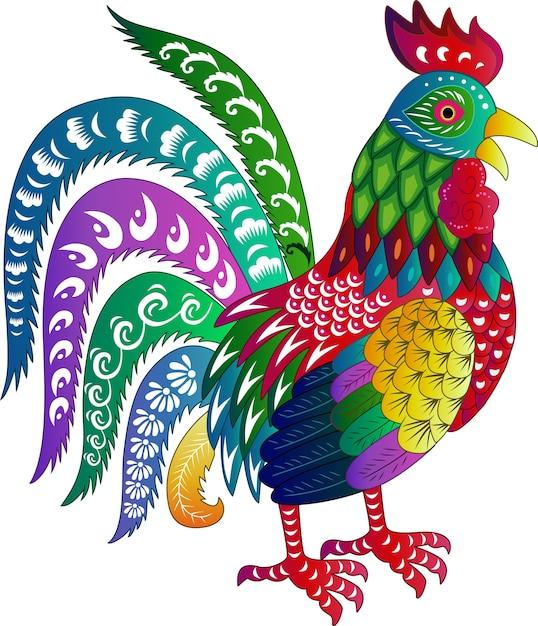 Signe du zodiaque pour l'année du coq Vecteur Premium