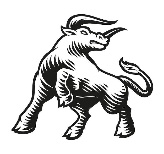 Signe Du Zodiaque Taureau Isolé Sur Blanc Vecteur Premium