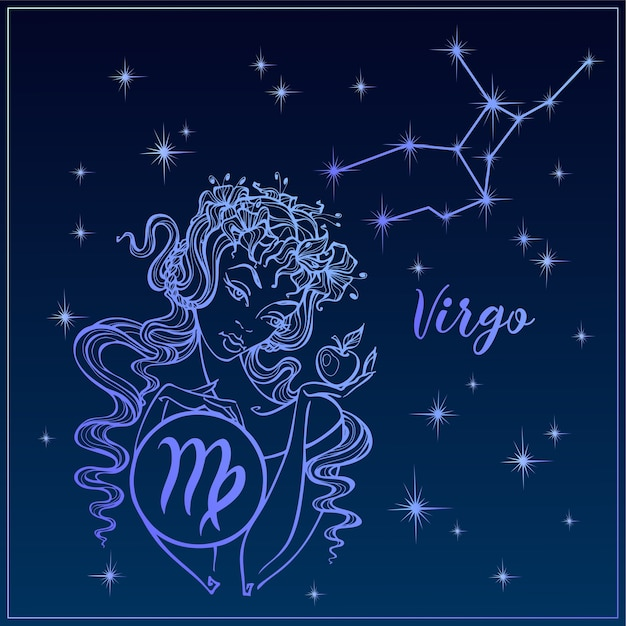 Signe du zodiaque vierge comme une belle fille. Vecteur Premium