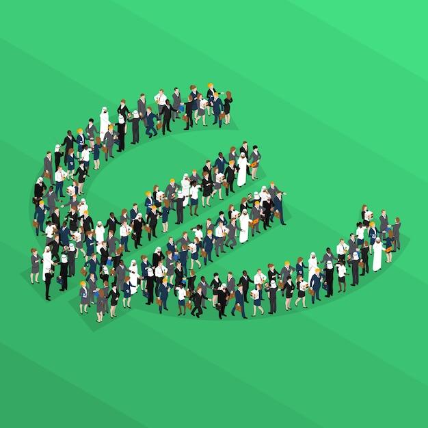 Signe Euro Isométrique De La Foule Vecteur gratuit