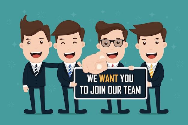 Signe d'exploitation de l'équipe d'affaires rejoindre notre équipe. Vecteur Premium