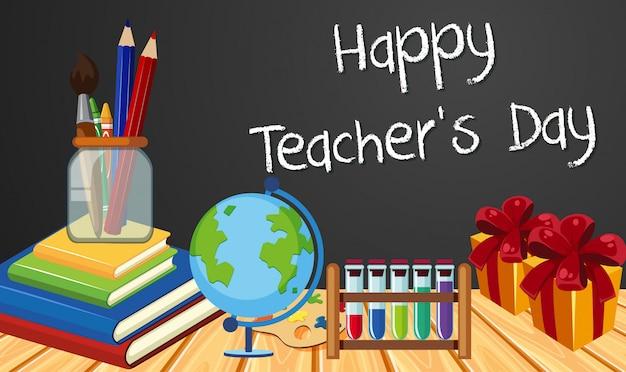 Signe De La Fête Des Enseignants Heureux Avec Ensemble D'éléments Stationnaires Vecteur Premium
