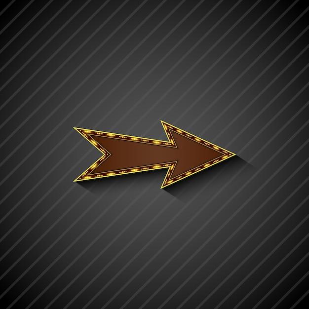 Un signe de la flèche avec des ampoules sur fond noir Vecteur Premium