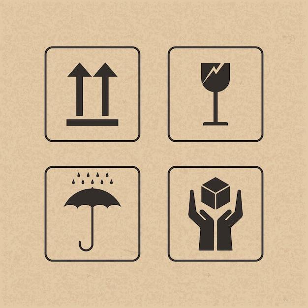 Signe Fragile Et Symbole Sur Papier Brun. Vecteur Premium