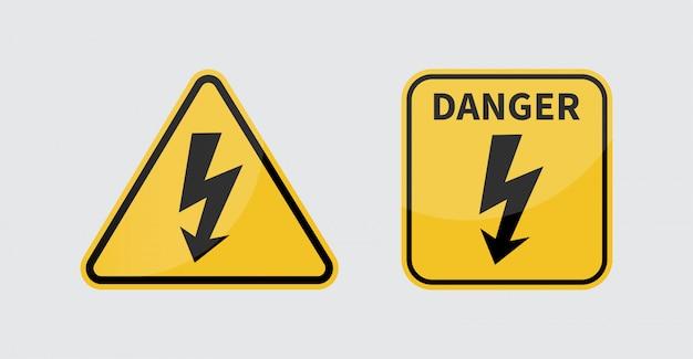 Signe de haute tension. signe de danger. Vecteur Premium