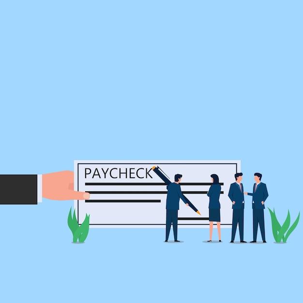 Signe De L'homme Sur La Métaphore Du Papier Chèque De Paie Du Paiement. Illustration De Concept Plat Entreprise. Vecteur Premium