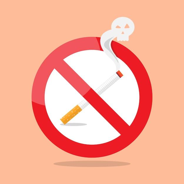 Signe d'interdiction de fumer Vecteur Premium