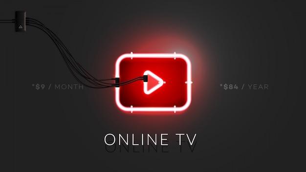 Signe de lecteur vidéo abstrait néon 3d. Vecteur Premium