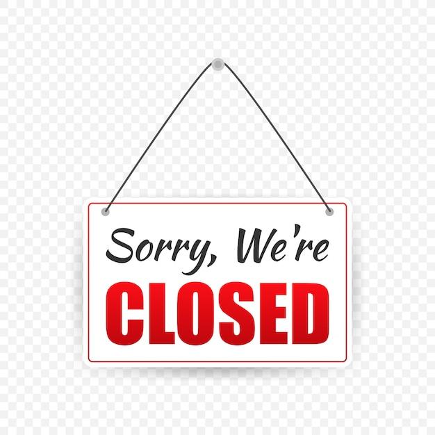 Signe de magasin fermé. panneau de porte. Vecteur Premium