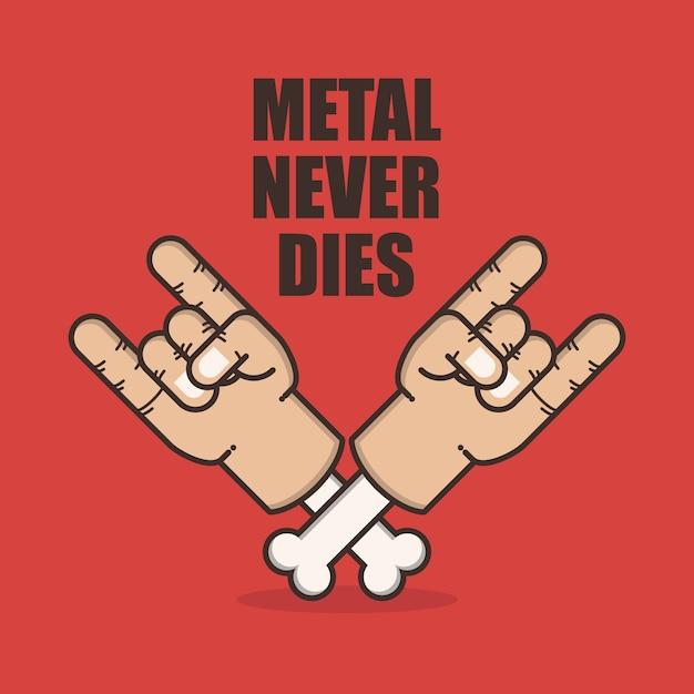 Signe de main en métal Vecteur Premium