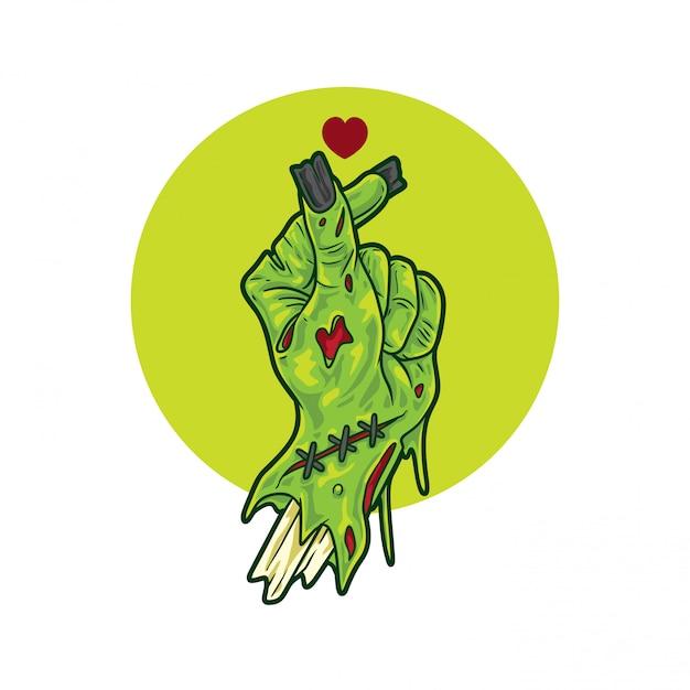 Signe De Mains D'amour Zombie Vecteur Premium