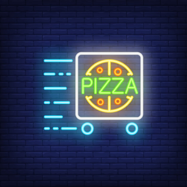 Signe Néon Livraison Pizza Avec Chariot En Mouvement. Publicité Lumineuse De Nuit. Vecteur gratuit