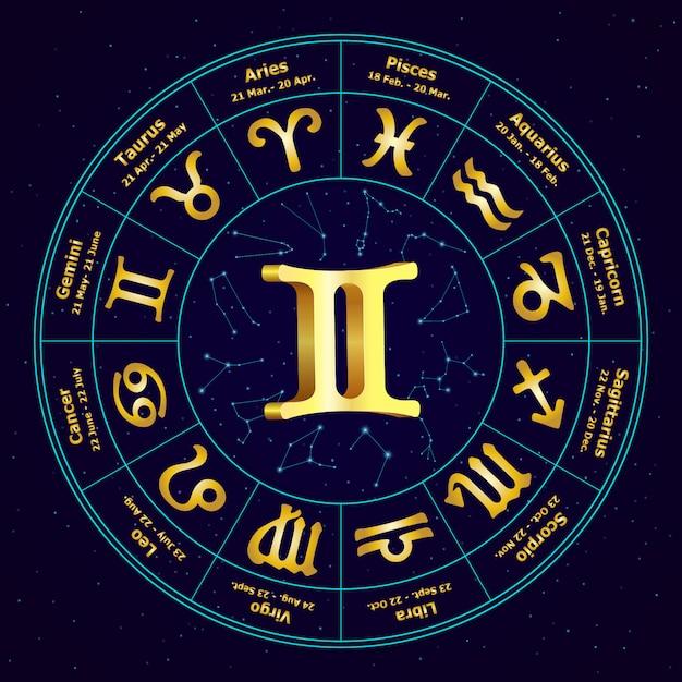 Signe d'or de zodiac gemini en cercle Vecteur Premium