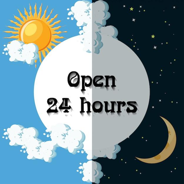 Signe ouvert 24 heures Vecteur Premium