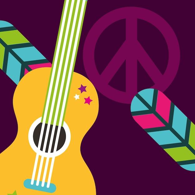 Signe de paix et d'amour de plumes de guitare musicale Vecteur Premium