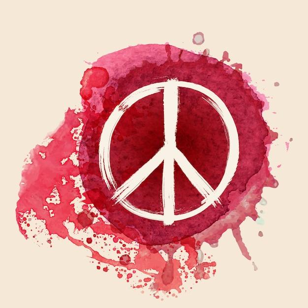 Signe de la paix sur fond de splat d'encre couleur rouge de l'eau Vecteur Premium