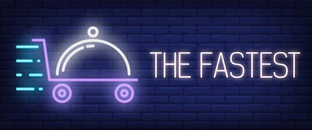 Le signe le plus rapide dans le style néon Vecteur gratuit
