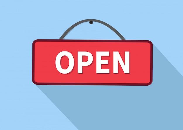 Signe de porte ouverte. Vecteur Premium
