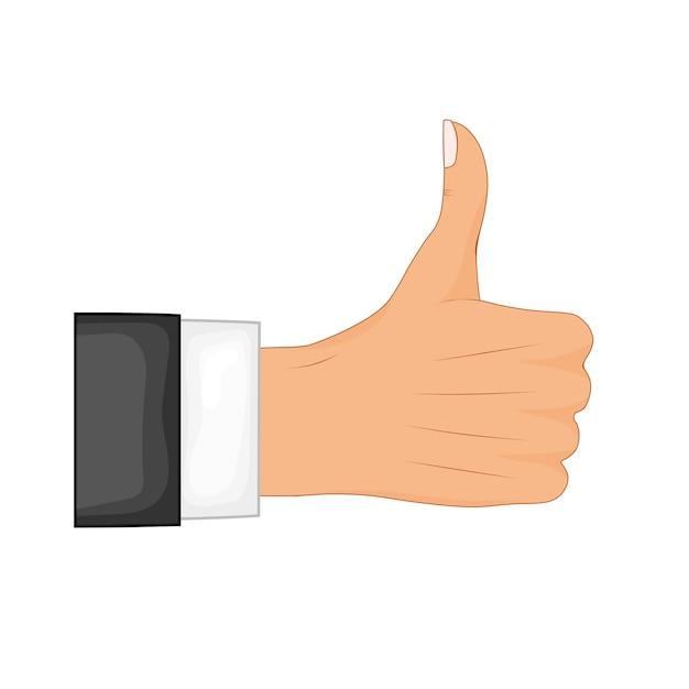 Signe De Pouce De La Main. Rétroaction Positive, Bons Gestes, Comme. Style Plat Vecteur Premium