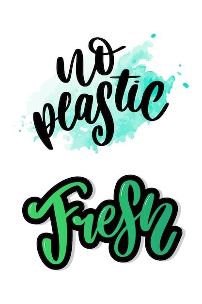 Signe De Produit Sans Plastique Pour étiquettes, Autocollants Sans Lettrage En Plastique Vecteur Premium
