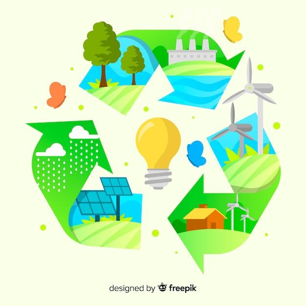 Signe de recyclage avec les énergies renouvelables Vecteur gratuit