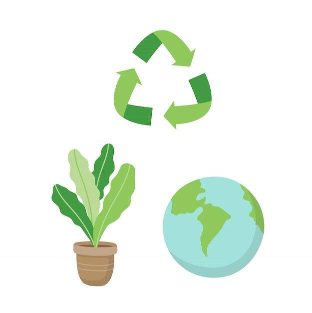 Signe de recyclage, une plante et une planète terre. illustration de concept écologique situé dans le style de dessin animé Vecteur Premium